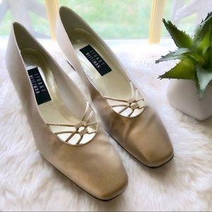Franco Sarto Gold Jeweled Heels